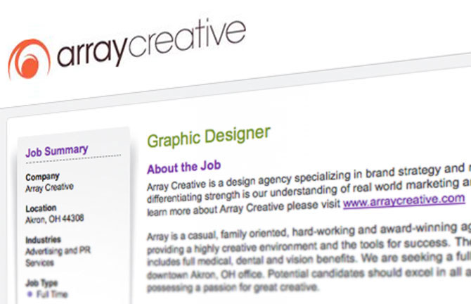 Array Creative team is hiring a graphic designer